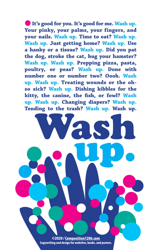 Wash Up poster - hand with bubbles